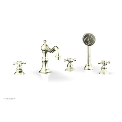 HENRI Deck Tub Set with Hand Shower with Cross Handles 161-48 - Burnished Nickel