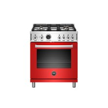 30 inch Dual Fuel Range, 4 Brass Burner, Electric Self-Clean Oven Rosso
