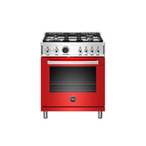 Bertazzoni30 inch Dual Fuel Range, 4 Brass Burner, Electric Self-Clean Oven Rosso
