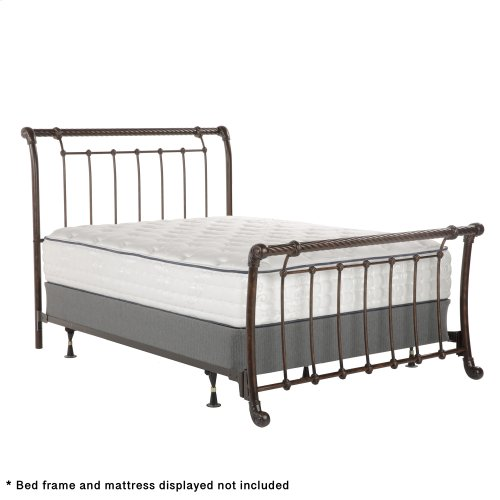 Legion Metal Sleigh-Styled Headboard and Footboard Bed Panels with Twisted Rope Top Rails, Ancient Gold Finish, Queen