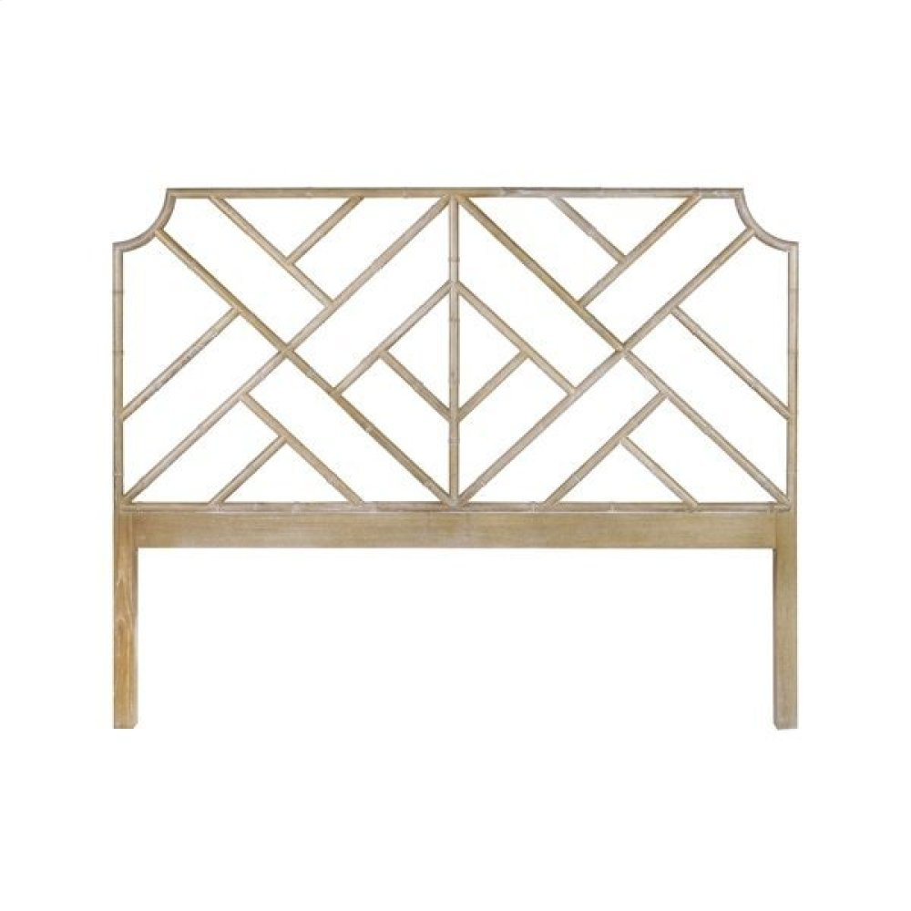 Chippendale Style King Bamboo Headboard In Cerused Oak