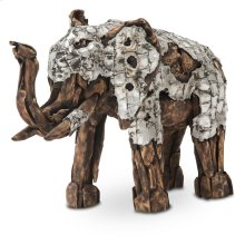 Wood Crafted Elephant W/aluminum, Small