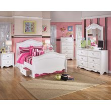 Exquisite - White Full Size Bed Frame with 2 Drawer Storage