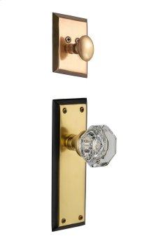 Nostalgic - Handleset Interior Half - New York Plate with Waldorf Knob in Antique Brass