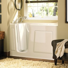 Gelcoat Value Series 30 x 60 Inch Walk in Tub with Air Spa System  Left Drain  American Standard - Linen