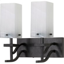 """2-Light 13"""" Textured Black Wall Mounted Vanity Fixture with Alabaster Swirl Glass"""