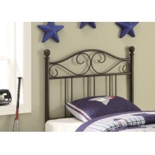 Transitional Brown Metal Twin Headboard