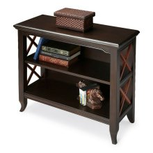 This stylish two-tone transitional bookcase is a wonderful accent in a living room, family room, hallway or home office. Made for smaller spaces, versatility is one of its key attributes. Crafted from select hardwood solids and wood products, it features