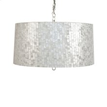Small Brick Pattern Capiz Shell Pendant. Uses 2 60 Watt Bulbs and Comes With Diffuser. Comes W. 3' Chrome Chain and Canopy. Additional Chain May Be Purchased Upon Request.
