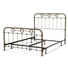 Madera Complete Bed with Metal Panels and Brass Plated Designs, Rustic Green Finish, Full