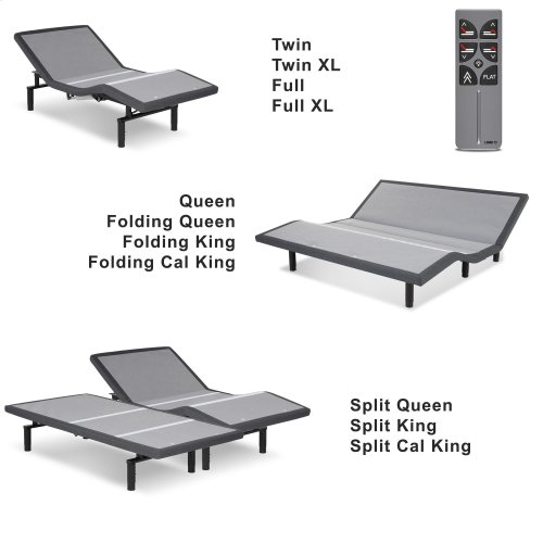 Falcon 2.0+ One-Piece Foldable Adjustable Bed Base with Under-Bed Lighting, Charcoal Gray, California King