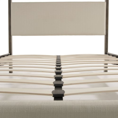 Avalon Complete Metal Canopy Platform Bed and Bedding Support System with Platinum Upholstery and 80-Inch Bed Posts, Slate Finish, Queen