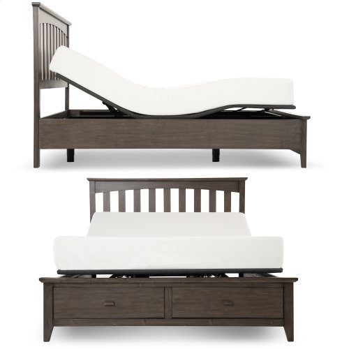 Sunrise 2 Slim-Profile Adjustable Bed Base for Platform Beds with Adjustable Legs, Charcoal Gray, Split King