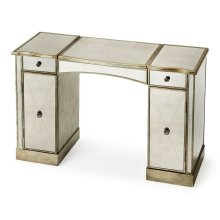 This glitzy vanity with antiqued mirrored top, front and sides and complementary pewter trim, makes a strong style statement while providing abundant storage. It offers adjustable shelves behind two doors, two drawers, plus a storage compartment beneath t