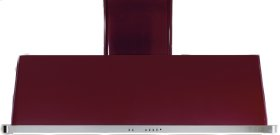 """Burgundy with Stainless Steel Trim 60"""" Range Hood with Warming Lights"""