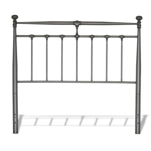 Kensington Complete Metal Bed and Steel Support Frame with Stately Posts and Detailed Castings, Vintage Silver Finish, King