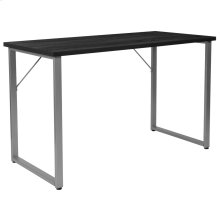 Black Finish Computer Desk with Silver Metal Frame