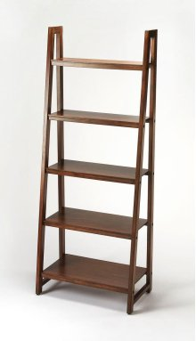 This Mid-Century modern bookcase will stylishly display books and collectibles. Featuring a slanted five shelf design, it is crafted from mahogany wood solids, wood products and select mahogany veneers in a light mahogany finish. It is perfect for use alo