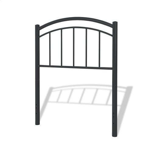 Rylan Fashion Kids Complete Metal Bed and Steel Support Frame with Gently Arced Panels and Vertical Spindles, Black Ink Finish, Full