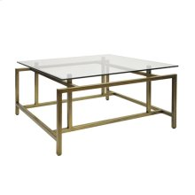 Modern Coffee Table With Glass Top In Painted Bronze