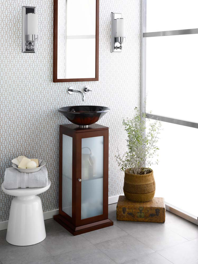 Additional Round Tempered Glass Vessel Bathroom Sink in Red & Black Brush Pattern