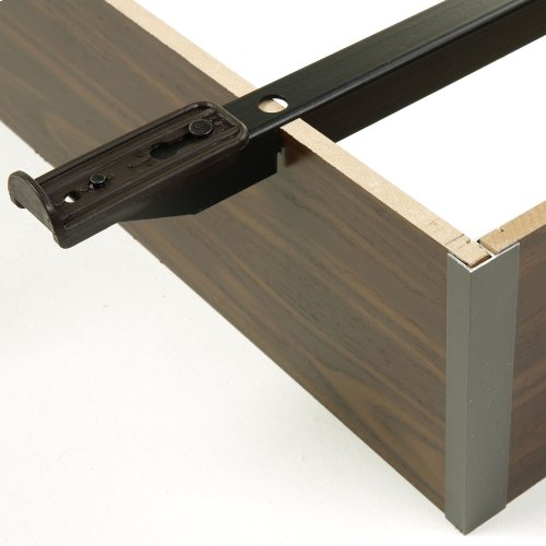 """Pedestal Q19 Bed Base with 7-1/2"""" Walnut Laminate Wood Frame and Center Cross Slat Support, Queen"""