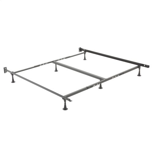 Restmore Adjustable Center Support Bed Frame K45G with Fixed Headboard Brackets and (6) Glide Legs, Queen - King