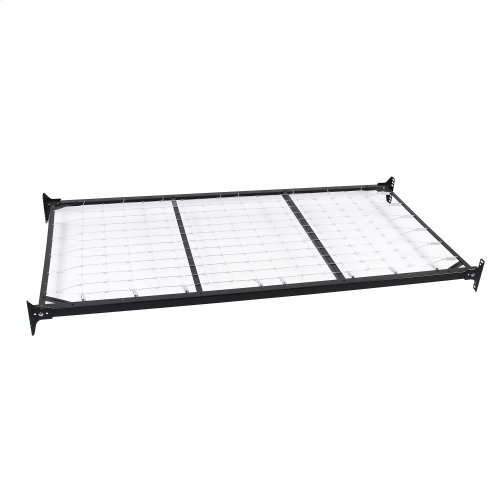Caroline Complete Metal Daybed with Link Spring and Trundle Bed Pop-Up Frame, Antique White Finish, Twin