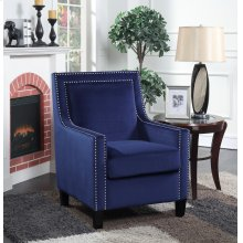 Manor Blue Velvet Accent Chair with Nailhead Trim