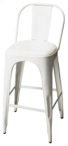 This vintage look barstool will add retro flair to your space. Forged from iron components, it boasts a stylish white finish. Product Image