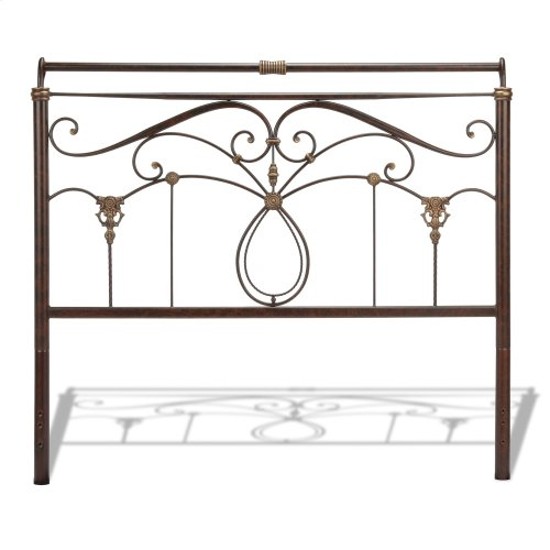 Lucinda Bed with Intricate Metal Scrollwork and Sleighed Top Rail Panels, Marbled Russet Finish, King