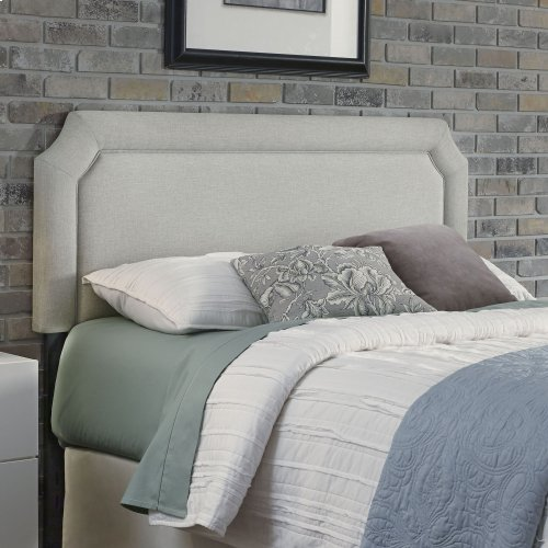 Chandler Upholstered Headboard with Adjustable Height and Piping Trim, London Fog Finish, Full / Queen