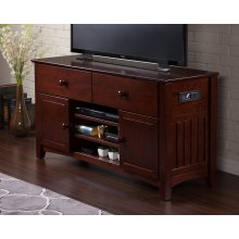 Mission 2 Drawer 50 inch Entertainment Console with Adjustable Shelves and Charging Station in Walnut