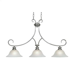 Lancaster 3 Light Linear Pendant in Pewter with Marbled Glass