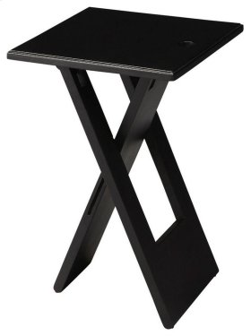 This versatile folding table is essential for its portable function and clean modern design. Crafted from mango wood solids, it features a sleek painted black finish.