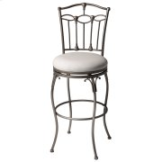 Concord Swivel Seat Bar Stool with Brushed Bronze Finished Metal Frame, Detailed Seatback and Linen Upholstery, 30-Inch Seat Height Product Image