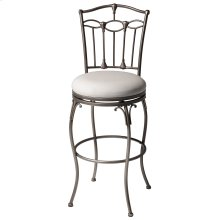 Concord Swivel Seat Bar Stool with Brushed Bronze Finished Metal Frame, Detailed Seatback and Linen Upholstery, 30-Inch Seat Height