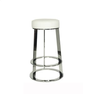 Worlds Away Nickel Round Counter Stool With White Pu Leather Top