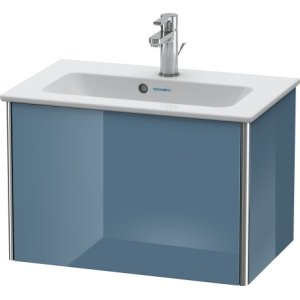 Vanity Unit Wall-mounted Compact, Stone Blue High Gloss Lacquer