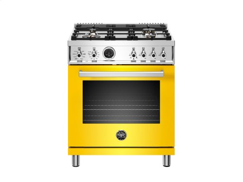 30 inch Dual Fuel Range, 4 Brass Burner, Electric Self-Clean Oven Yellow