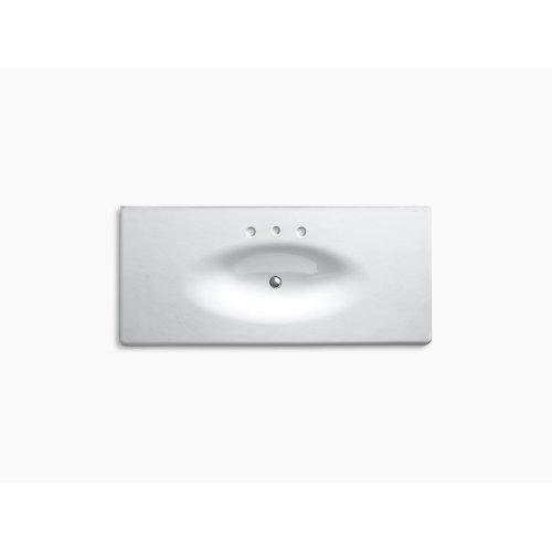 """Biscuit 49"""" Vanity-top Bathroom Sink With 8"""" Widespread Faucet Holes"""