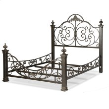 Baroque Complete Metal Bed and Bedding Support System with Highly Decorated Design and Massive Finial Posts, Gilden Slate Finish, California King