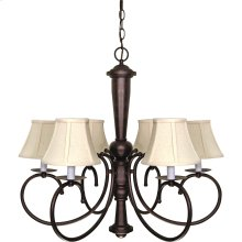 """6-Light 27"""" Old Bronze Chandelier with Natural Linen Shades"""
