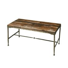All rustic all the time... and perpetually elegant in its simplicity, this cocktail table is hand-crafted from acacia solid wood and iron. Its burnt umber top and hammered pewter finish base complement one another perfectly, as it evokes the honesty and