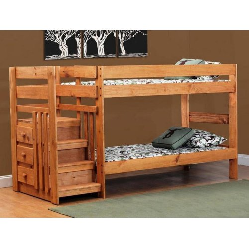 Saddlebrook Twin over Twin Staircase Bunk Bed