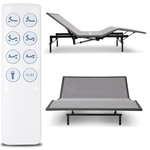 Raven Low-Profile Adjustable Bed Base with Simultaneous Movement and Wireless Flashlight Remote, Charcoal Gray Finish, Queen