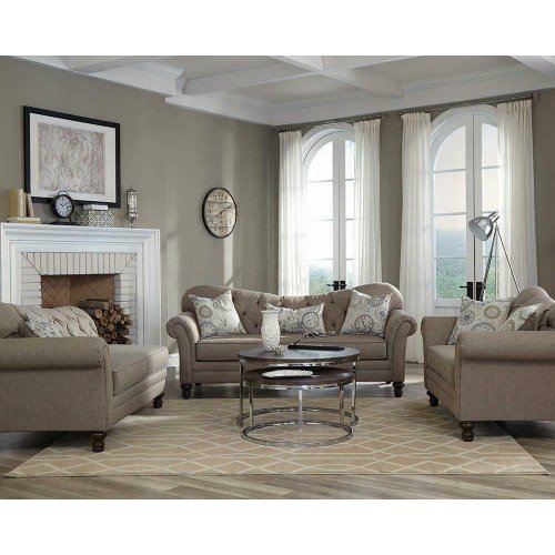Carnahan Traditional Brown Three-piece Living Room Set