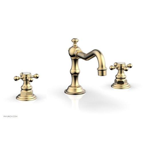HENRI Widespread Faucet - Cross Handles 161-01 - Satin Brass