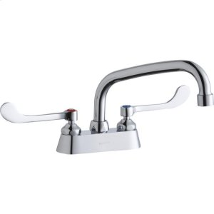 """Elkay 4"""" Centerset with Exposed Deck Faucet with 8"""" Arc Tube Spout 6"""" Wristblade Handles Product Image"""