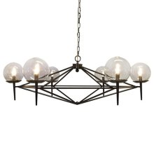 Black Powder Coated Chandelier With Hand Blown Glass Globes. Fixture Uses (6) 40 Watt Chandelier Bulbs. Comes With 5' Matching Chain and Canopy.